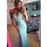 Blue Sweet Heart Beaded Teenage Long Evening Prom Dresses, PM0091 - Prom Muse