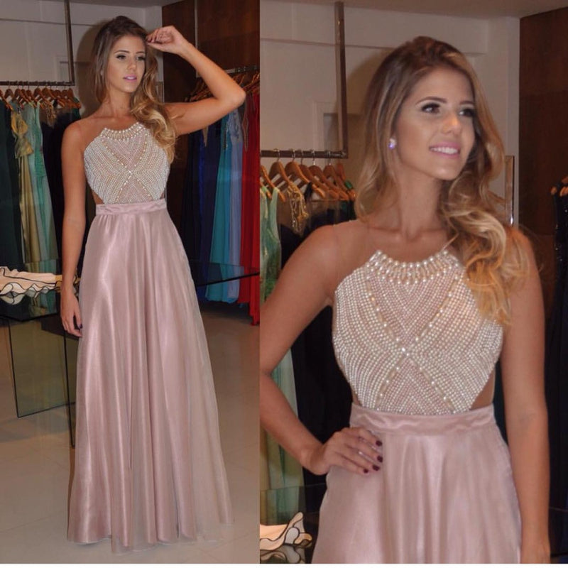 Blush Pink Beaded Top Formal A Line Long Prom Dresses, PM0092
