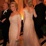 Champagne Long Sleeves Off the Shoulder Long Evening Prom Dresses, PM0093