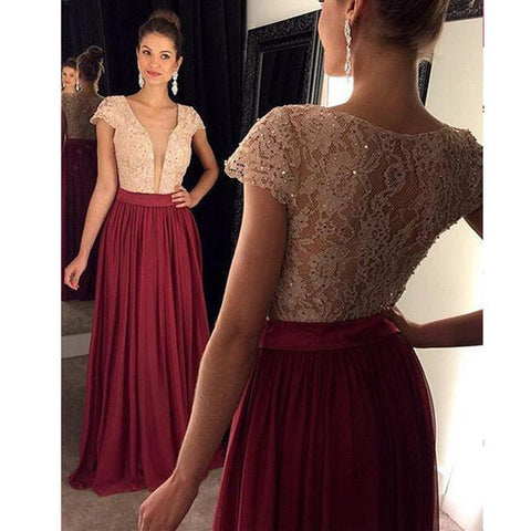 Burgundy Short Sleeve See Through Deep V Neck Lace Prom Dresses, PM0094