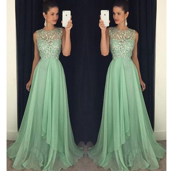 Mint Green Beaded Top A Line Junior Long Prom Dresses, PM0095 - Prom Muse