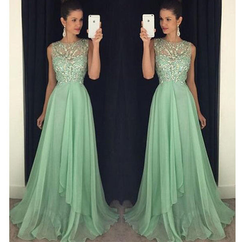 Mint Green Beaded Top A Line Junior Long Prom Dresses, PM0095