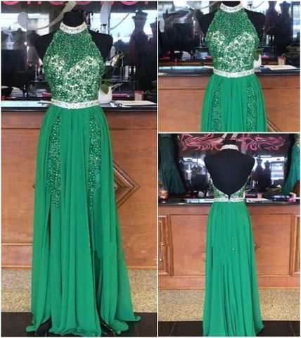 Green Halter Open Back Formal  Beaded Long Prom Dresses, PM0097