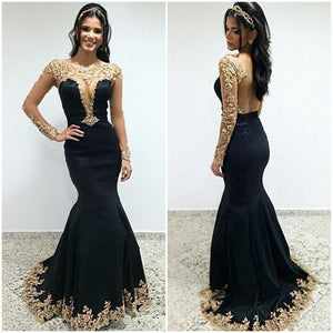 Black Sexy Seen Through Long Sleeves Unique Prom Dresses, PM0009 - Prom Muse