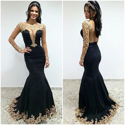 Black Sexy Seen Through Long Sleeves Unique Prom Dresses, PM0009