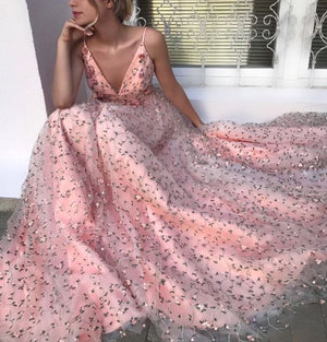 Charming V Neck Cheap Formal Pretty Evening Long Prom Dresses, PM1047 - Prom Muse