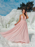 Simple Deep V Neck Pink Long Evening Prom Dresses, Sweet 16 Prom Dresses, PY008