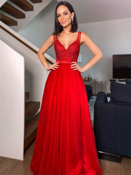 Red A-line V Neck Cheap Long Evening Prom Dresses, Sweet 16 Prom Dresses, PY057