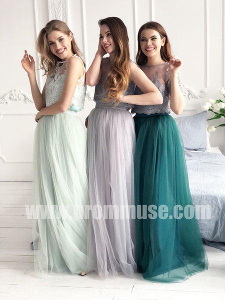 Popular Mismatched Charming lace Tulle Wedding Cheap Long Bridesmaid Dresses, PM0834 - Prom Muse