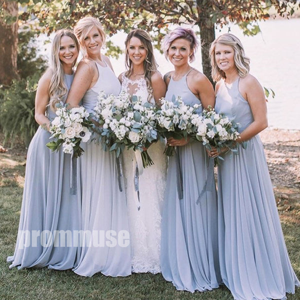 Sleeveless Light Blue A Line Long Bridesmaid Dresses DGH002