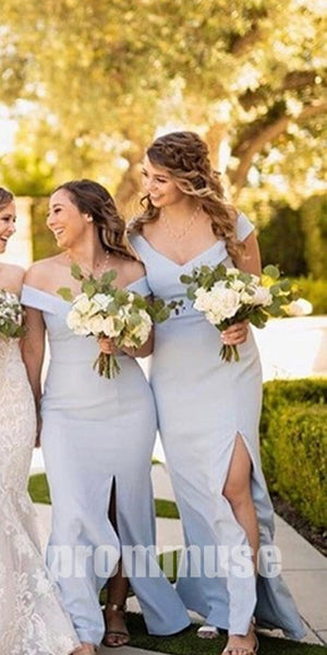 Elegant Mermaid Styles Split Side Long Bridesmaid Dresses DGH003