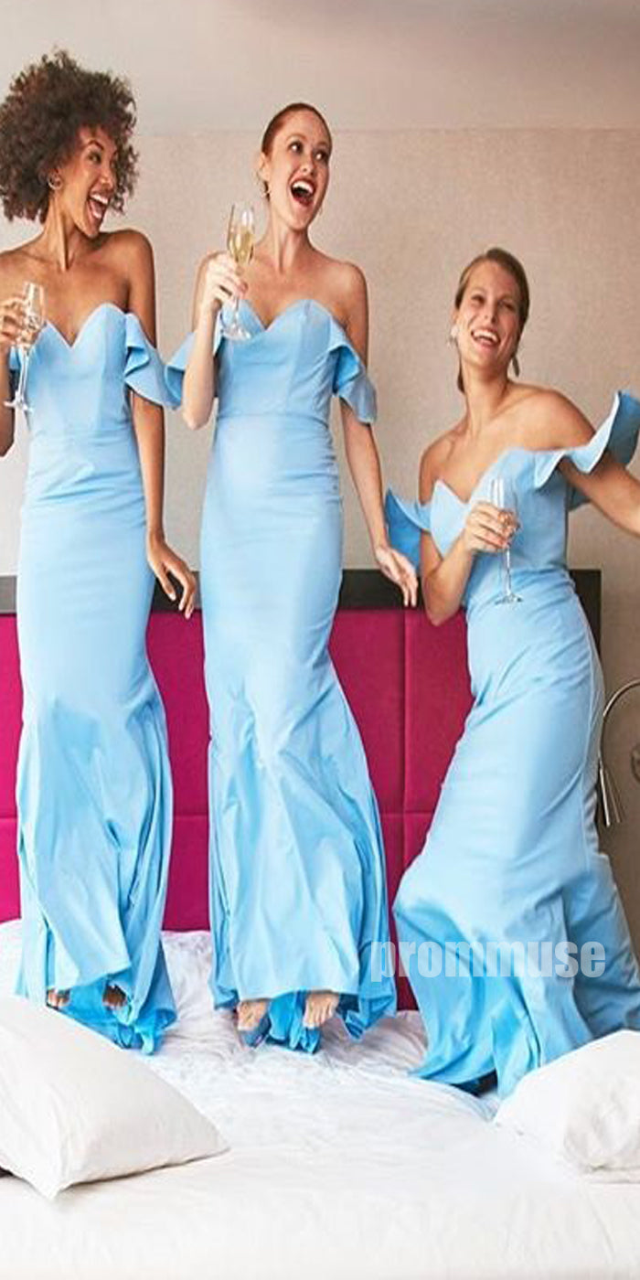 Blue Off the Shoulder Sweetheart Long Bridesmaid Dresses DGW36