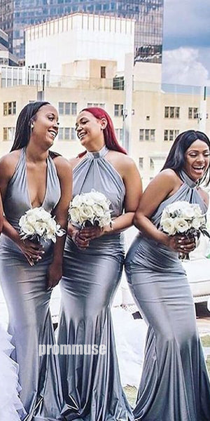 Sexy Halter Mermaid Silver/Gray Long Bridesmaid Dresses DGW24