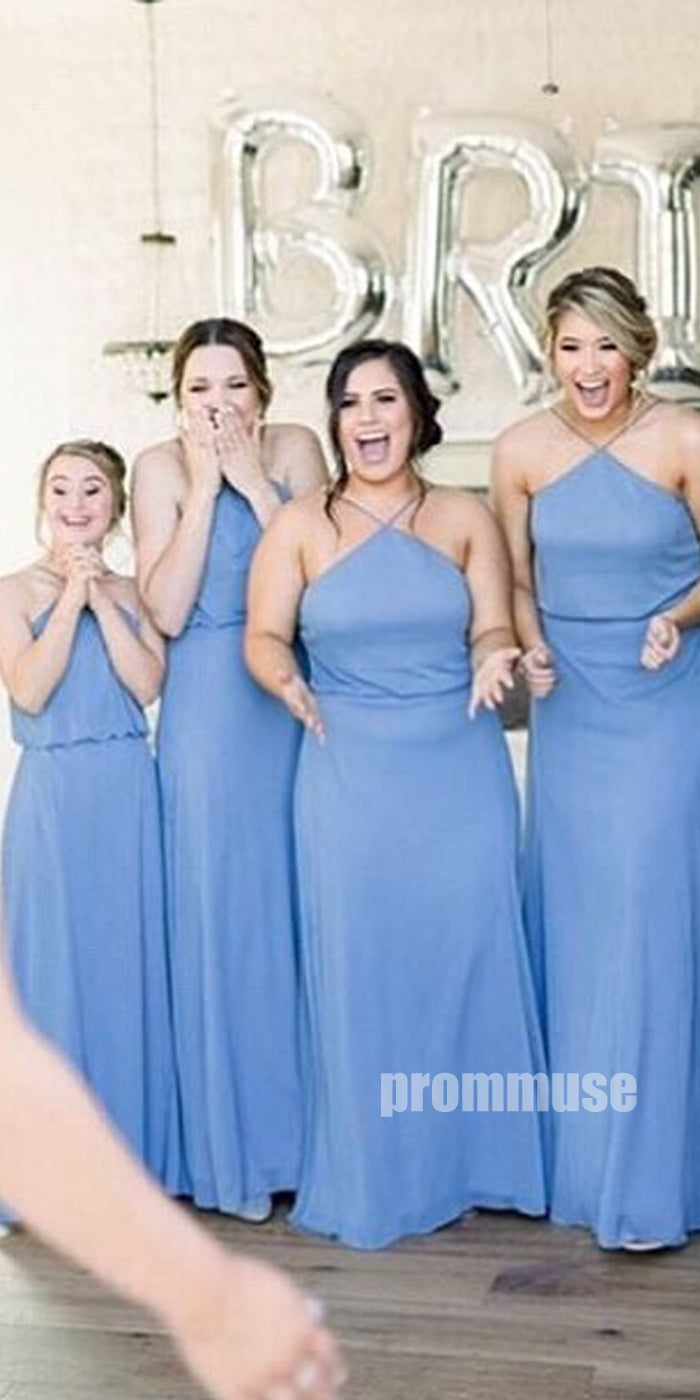 A Line Simple Cheap Chiffon Wedding Party Long Bridesmaid Dresses DGW16