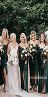 Spaghetti Strap Side Slit Teal Green Long Bridesmaid Dresses DGW20