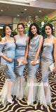 Charming Mermaid Sexy Mismatched Styles Long Bridesmaid Dresses DGW25