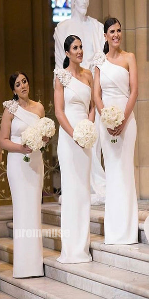 One Shoulder Elegant Long Bridesmaid Dresses DGW35