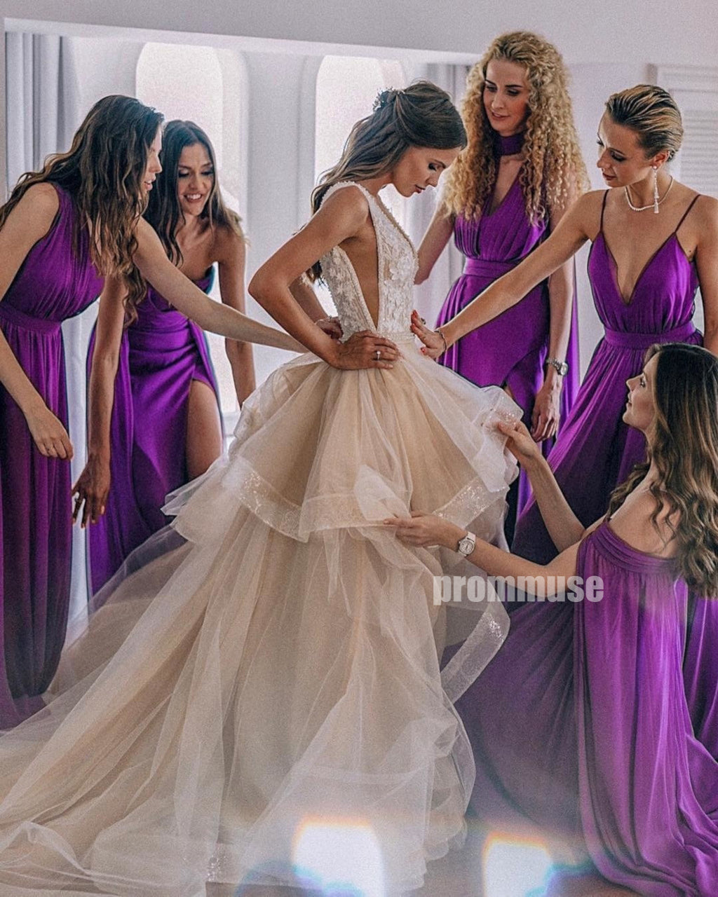 Popular Chiffon Mismatched Long Bridesmaid Dresses DGW17