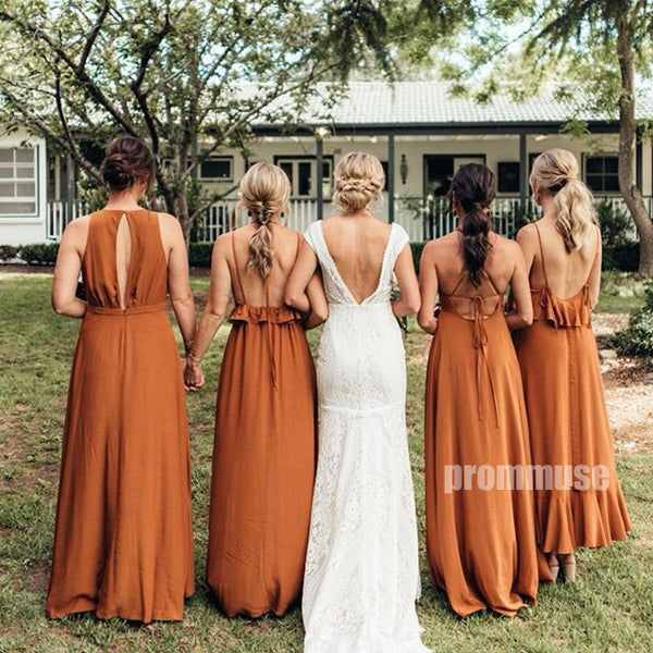 Popular A Line Mismatched Long Bridesmaid Dresses DGW34