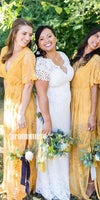 Short Sleeves V Neck Lace Long Bridesmaid Dresses DGW13