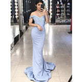 Popular Mermaid Off the Shoulder Elegant Cheap Long Bridesmaid Dresses, PM0817 - Prom Muse