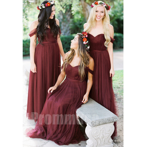 Charming Off the Shoulder Sweetheart Long Cheap Bridesmaid Dresses, PM0822