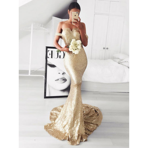 Off the Shoulder Charming Popular Sequin Mermaid Long Bridesmaid Dresses, PM0814 - Prom Muse