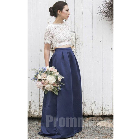 2 Pieces Short Sleeves Lace Satin Elegant Long Bridesmaid Dresses, PM0818