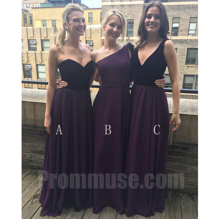 Affordable Mismatched Elegant Wedding Long Bridesmaid Dresses, PM02100 - Prom Muse