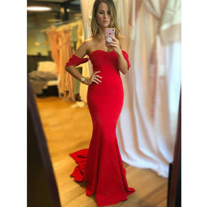 Elegant Off the Shoulder Mermaid Cheap Long Wedding Bridesmaid Dresses, WG330 - Prom Muse