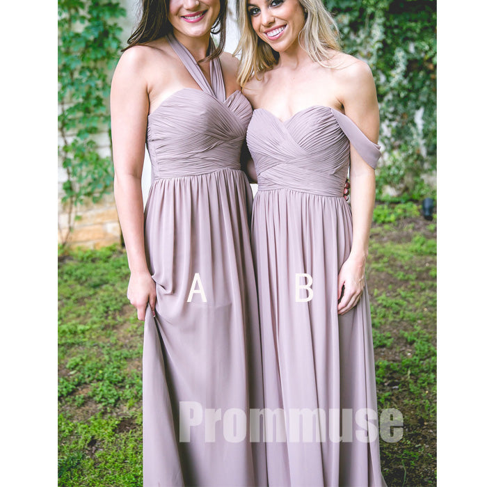 Cheap Off the Shoulder Sweetheart Halter Chiffon Formal Long Bridesmaid Dresses, PM0823