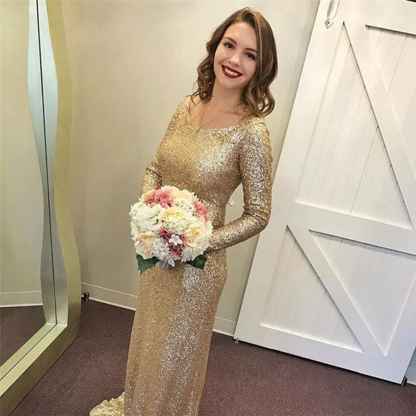 Sequin Long Sleeves Floor Length Champange Gold Eelgant Long Bridesmaid Dresses, PM0803