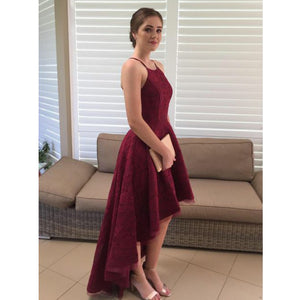 Burgundy Lace Halter High Low Cheap Long Wedding Bridesmaid Dresses, WG454 - Prom Muse