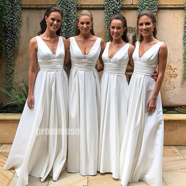 V Neck Iovy A Line Long Bridesmaid Dresses DGW38