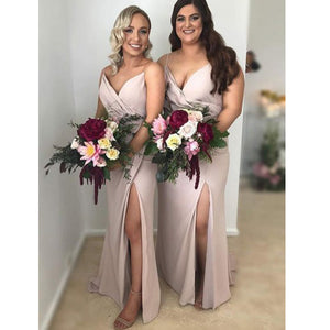 Popular Simple Cheap Sexy Side Slit Spaghetti Strap Long Bridesmaid Dresses, PM02040 - Prom Muse