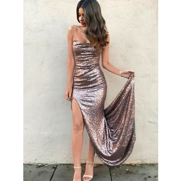 Popular Sequin Sexy Cheap Simple Side Slit Long Prom Bridesmaid Dresses, PM0815 - Prom Muse