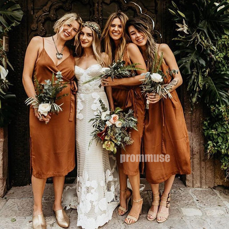 Popular Spaghetti Strap Wedding Party Bridesmaid Dresses DGW18