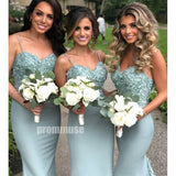 Spaghetti Strap Sweetheart Mermaid Long Bridesmaid Dresses DGW15