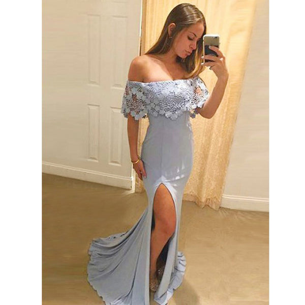 Affordable Charming Off the Shoulder Side Slit Long Prom Bridesmaid Dresses, PM0819 - Prom Muse