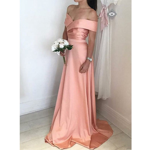 Off the Shoulder Formal Eleagnt Cheap Long Bridesmaid Dresses, PM0816 - Prom Muse