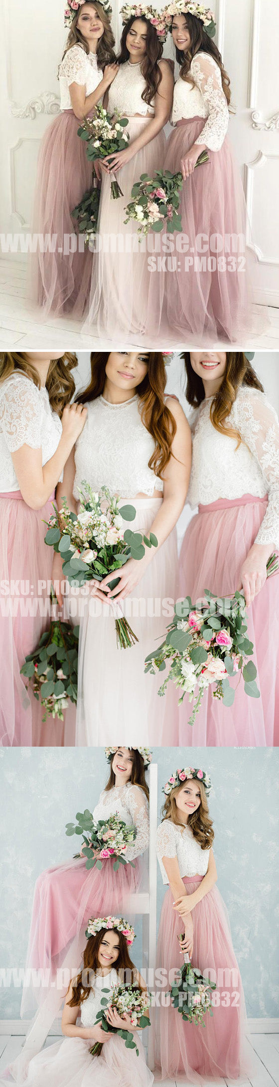 Mismatched Two Pieces Lace Tulle Wedding Long Cheap Bridesmaid Dresses, PM0832