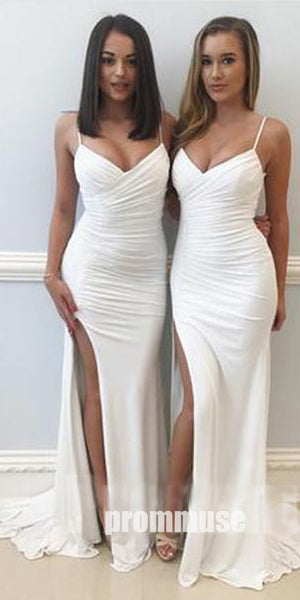 Elegant Sexy Mermaid Side Split Spaghetti Strap Long Bridesmaid Dresses, PM0824