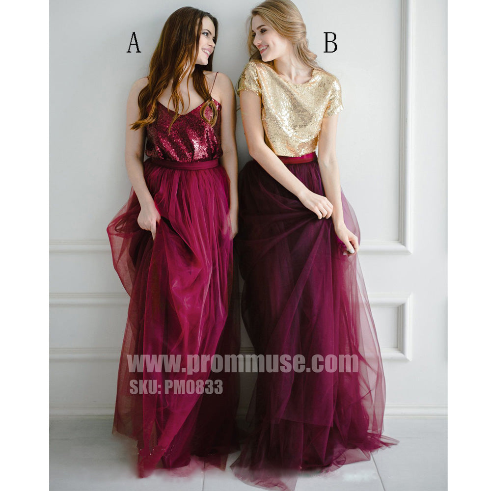 Burgundy Mismatched Two Pieces Sequin Tulle Wedding Long Bridesmaid Dresses, PM0833