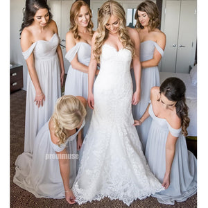 Off the Shoulder Chiffon A Line Long Bridesmaid Dresses DGW12