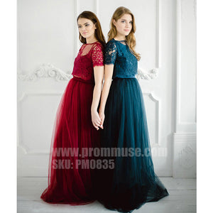 Charming lace Tulle Two Pieces Wedding Party Cheap Long Bridesmaid Dresses, PM0835