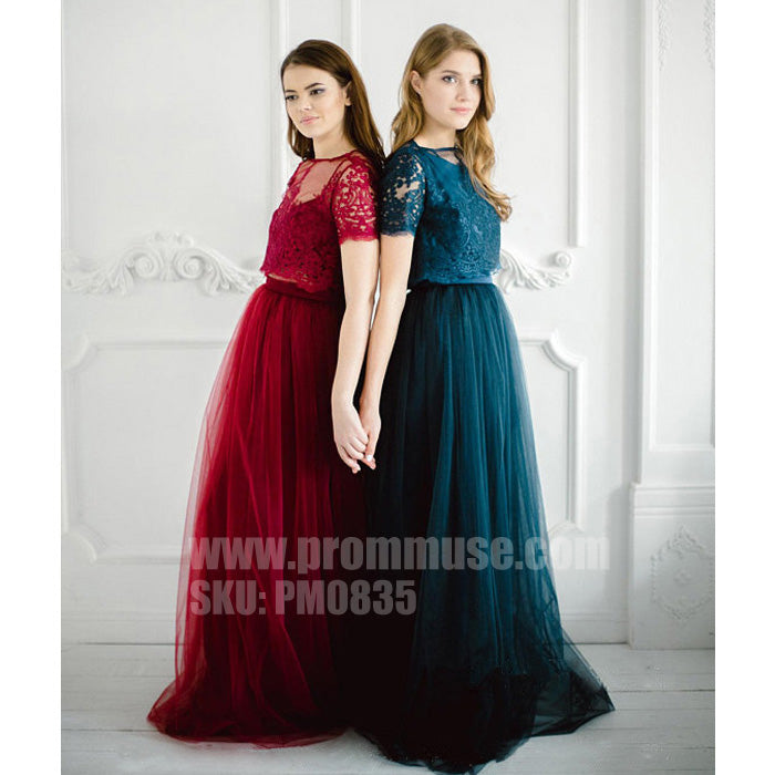 Charming lace Tulle Two Pieces Wedding Party Cheap Long Bridesmaid Dresses, PM0835 - Prom Muse
