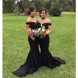 Elegant Black Mermaid Off the Shoulder Sexy Long Bridesmaid Dresses, PM0821 - Prom Muse