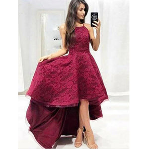 Lace Burgundy Halter High Low Long Bridesmaid Dresses for Wedding Party, PM0812 - Prom Muse