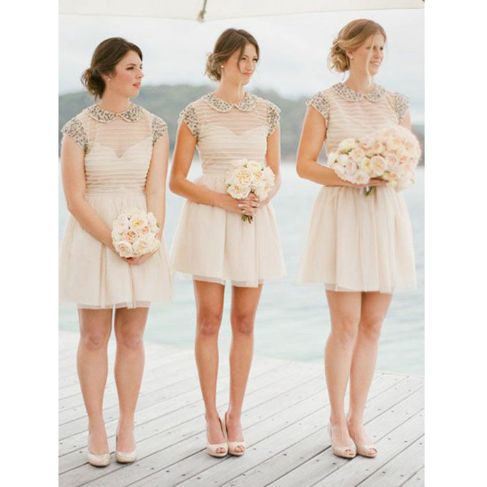 Unique Cap Sleeves Lovely Cheap Short Bridesmaid Dresses, PM0820