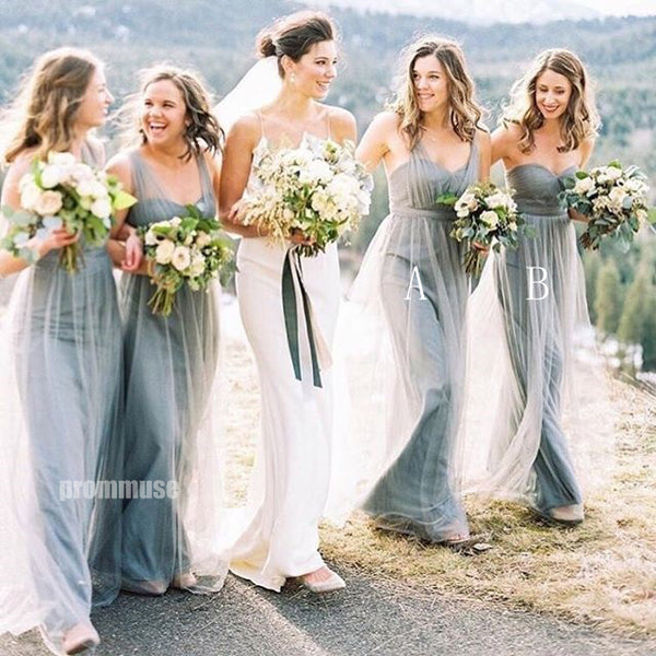 Long Tulle A Line Simple Cheap Bridesmaid Dresses DGW22